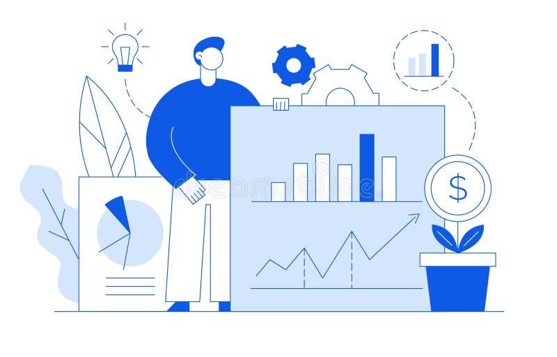 Plan linje stilaffär för vektor och finansdesignbegrepp med den stora moderna personen som rymmer finansiella grafer stock illustrationer