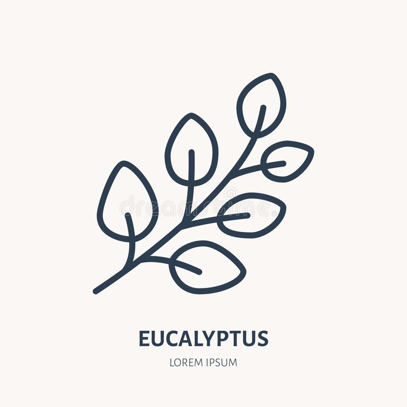 Plan linje symbol för eukalyptus Illustration för medicinalväxteukalyptusträdvektor Tunt tecken för växt- medicin, nödvändig olja royaltyfri illustrationer