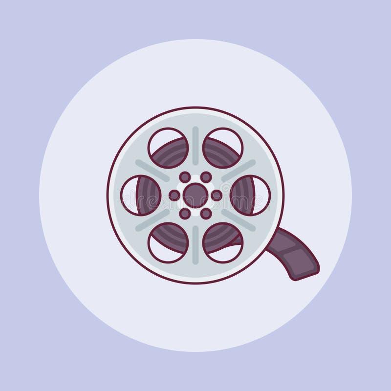 Plan linje symbol för filmrulle också vektor för coreldrawillustration royaltyfri illustrationer