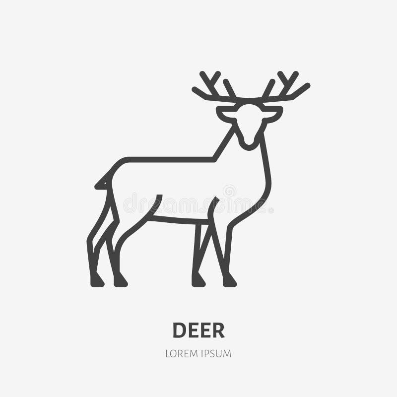 Plan linje symbol för hjortar Tunt tecken för vektor av renen, löst djur Översiktsillustration för zoo royaltyfri illustrationer
