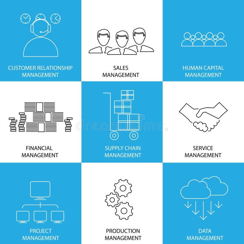 Plan linje symboler av ledning av finans, försäljningar, service - conce stock illustrationer