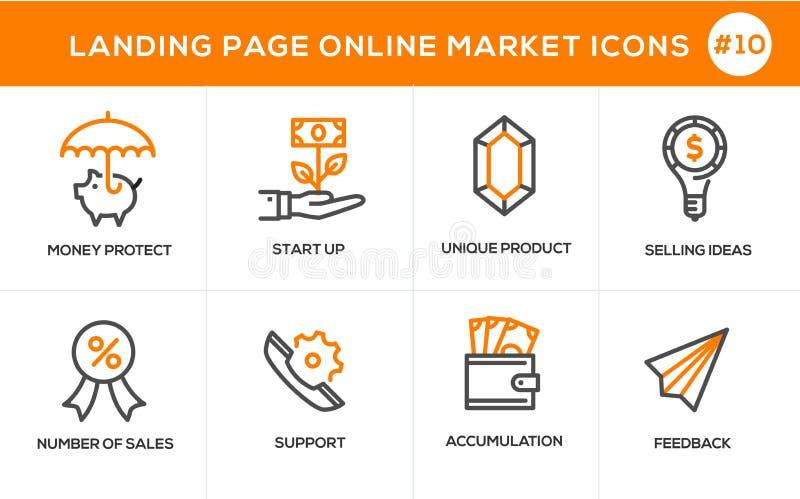 Plan linje symboler för designbegrepp för online-shopping, website stock illustrationer