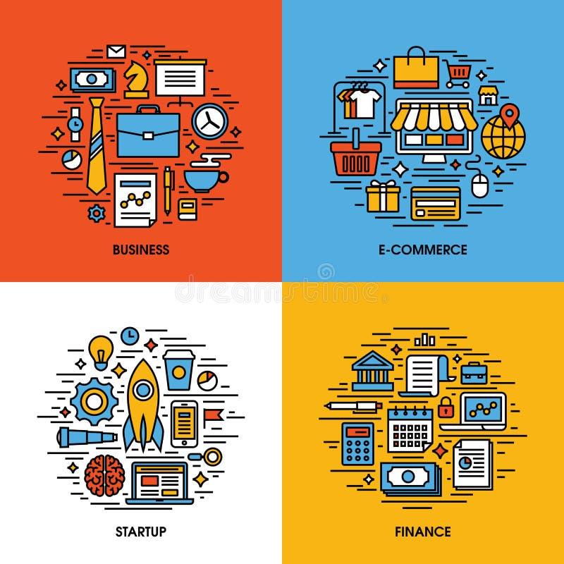 Plan linje symbolsuppsättning av affären, e-kommers, start, finans stock illustrationer