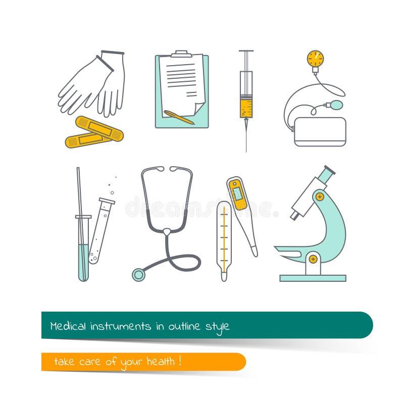 Plan linje symbolsuppsättning av medicinska instrument royaltyfri illustrationer