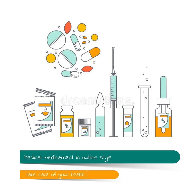 Plan linje symbolsuppsättning av medikamentet royaltyfri illustrationer