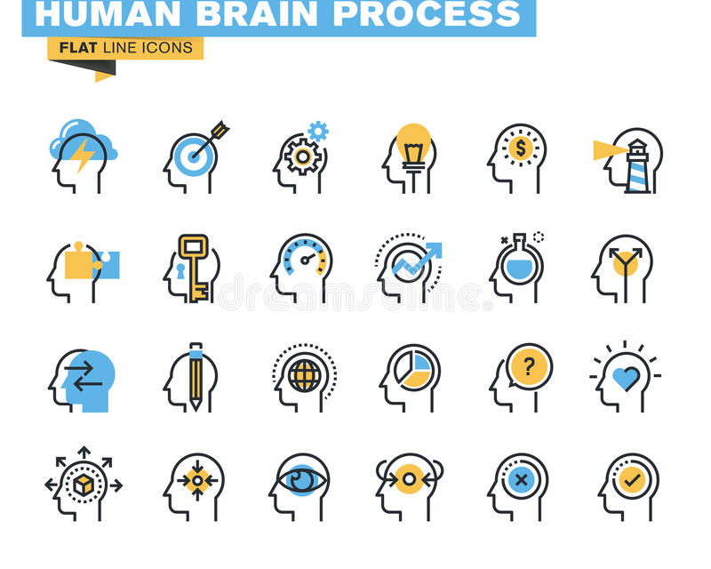 Plan linje symbolsuppsättning av processen för mänsklig hjärna stock illustrationer