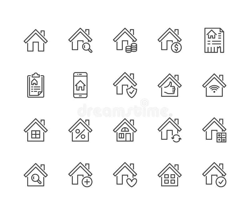 Plan linje symbolsuppsättning för fastighet Husförsäljningen, hem- försäkring, intecknar räknemaskinen, lägenhetsökandeappen, byg stock illustrationer
