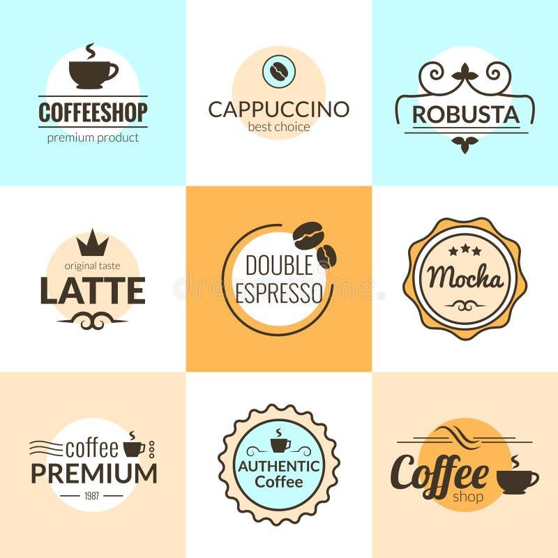 Plan linje typografi för vektor för design för logo för tappningkaffeetiketter royaltyfri illustrationer