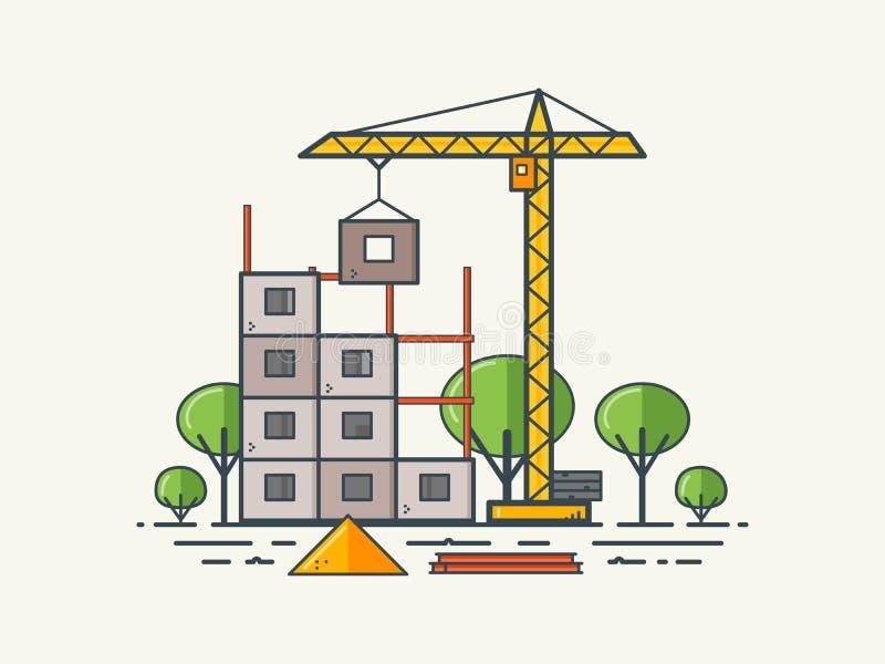 Plan linje under konstruktion stock illustrationer