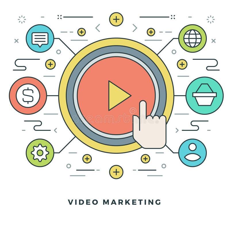 Plan linje video marknadsföring för affärsidé också vektor för coreldrawillustration Moderna tunna linjära slaglängdvektorsymbole stock illustrationer