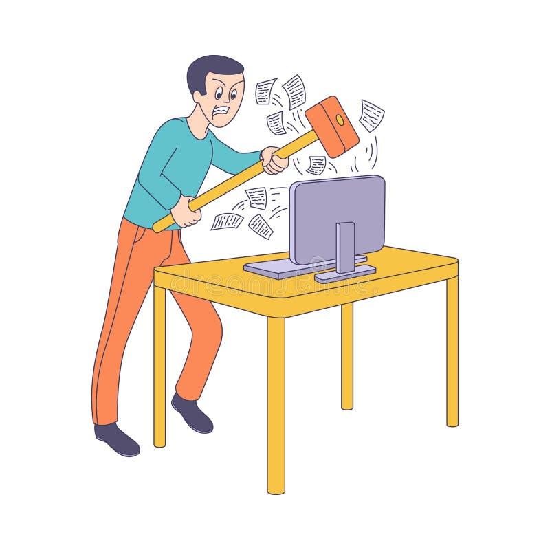 Plan man för vektor med hummeren som bryter bildskärmen stock illustrationer