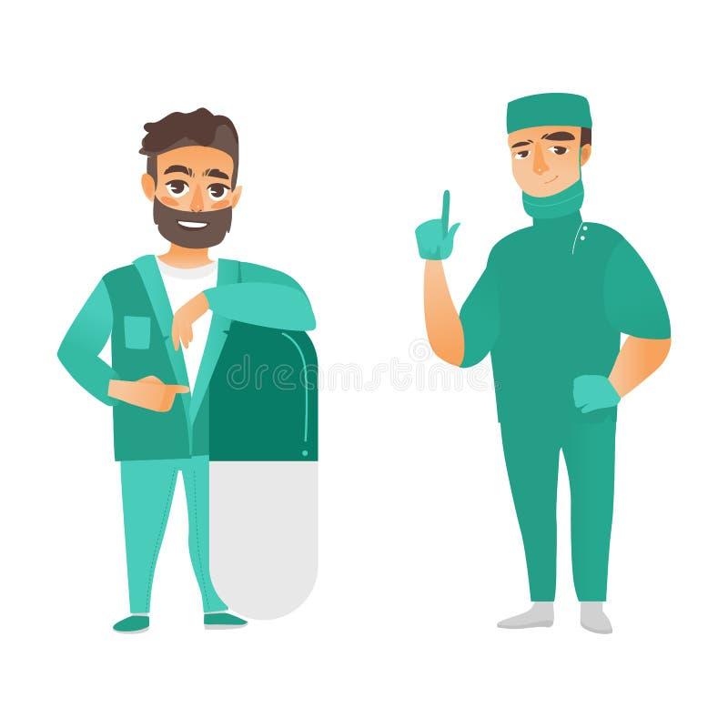 Plan manlig doktorsbenägenhet för vektor på preventivpilleren, kirurg vektor illustrationer
