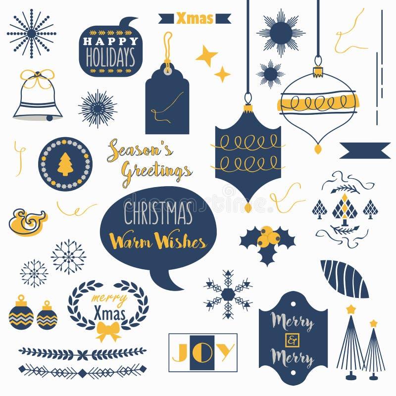 Plan marinblå och orange julsymbolsuppsättning stock illustrationer