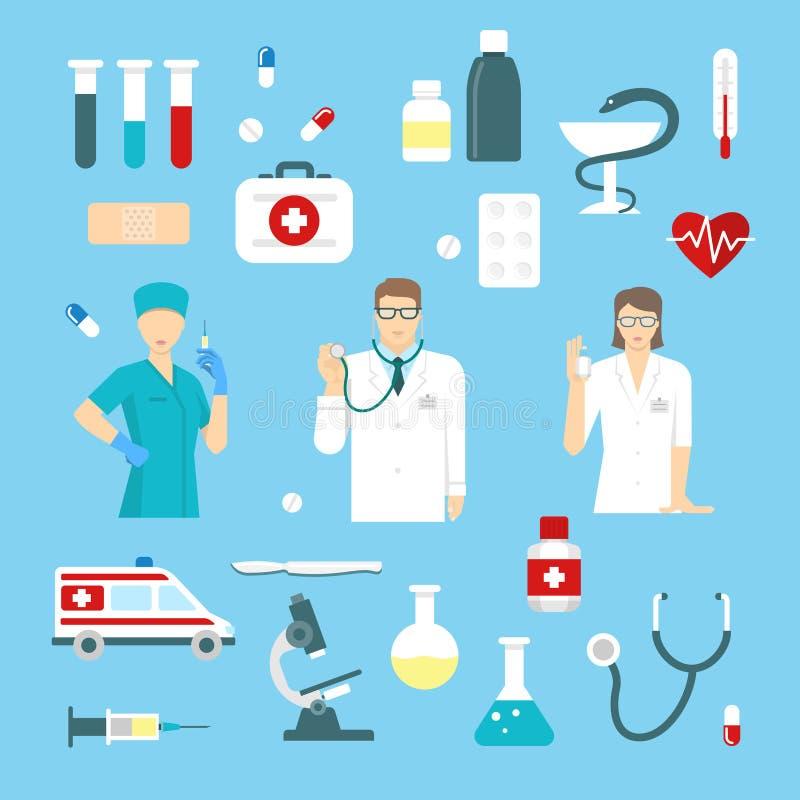 Plan medicinbeståndsdeluppsättning vektor illustrationer