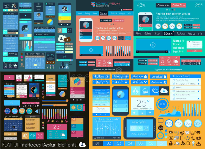 Plan mega samling för UI: Symboler: rengöringsduk och teknologi royaltyfri illustrationer