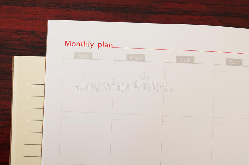 Plan mensuel photo libre de droits