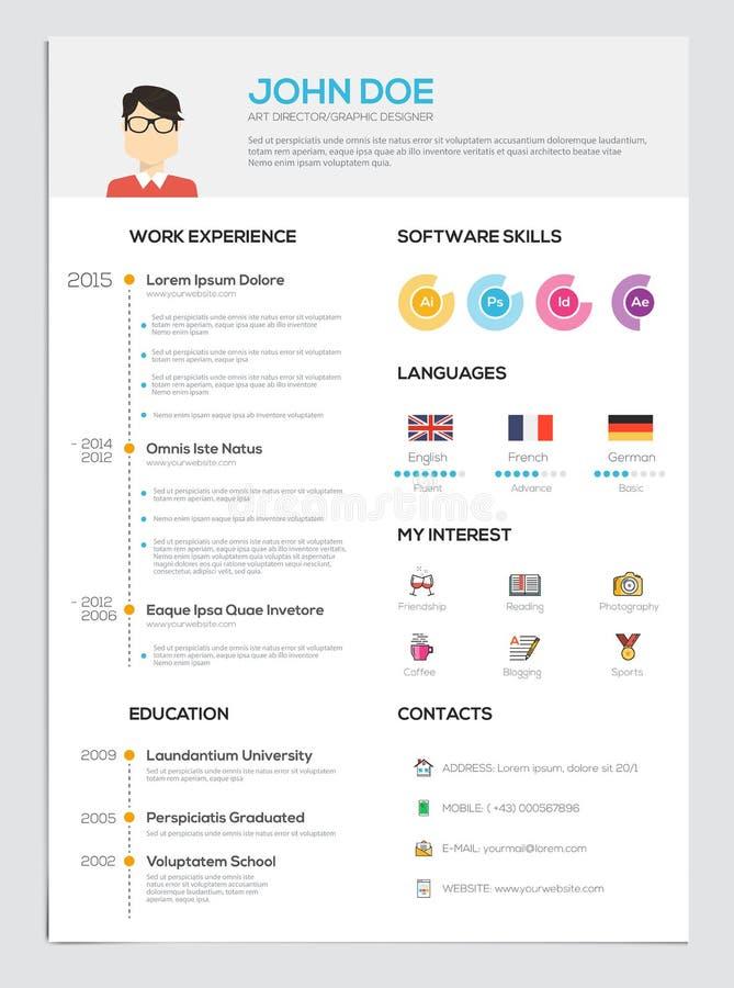 Plan meritförteckning med Infographics vektor illustrationer