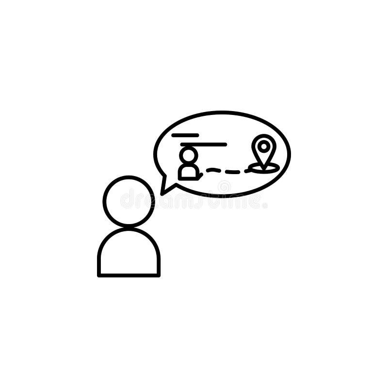 plan, metody ikona Element ogólnospołeczny problem i uchodźca ikona Cienka kreskowa ikona dla strona internetowa projekta i rozwo royalty ilustracja