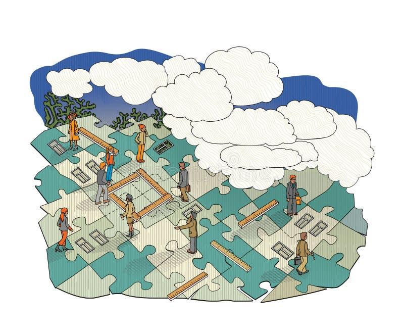 Plan mieszkanie w postaci łamigłówki i miasto Ludzie z władcami mierzy teren dom Krajobraz pod ilustracja wektor