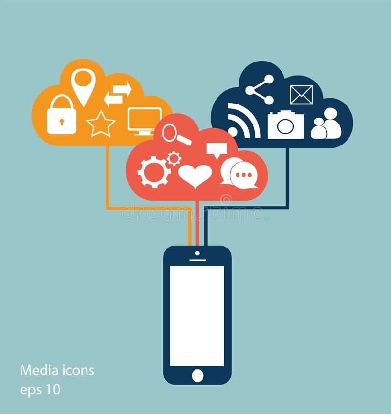 Plan mobiltelefonvektor med sociala massmediasymboler stock illustrationer