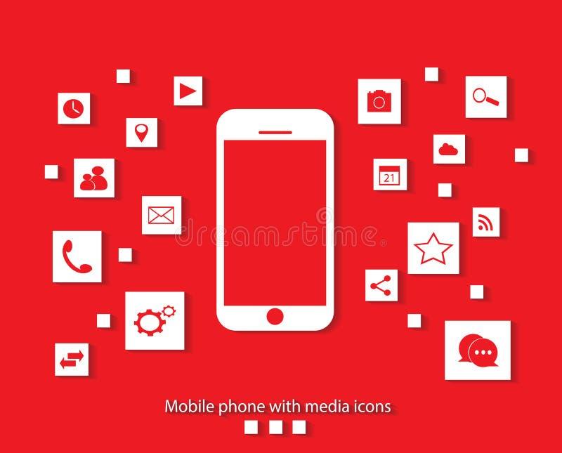 Plan mobiltelefonvektor med sociala röda massmediasymboler stock illustrationer