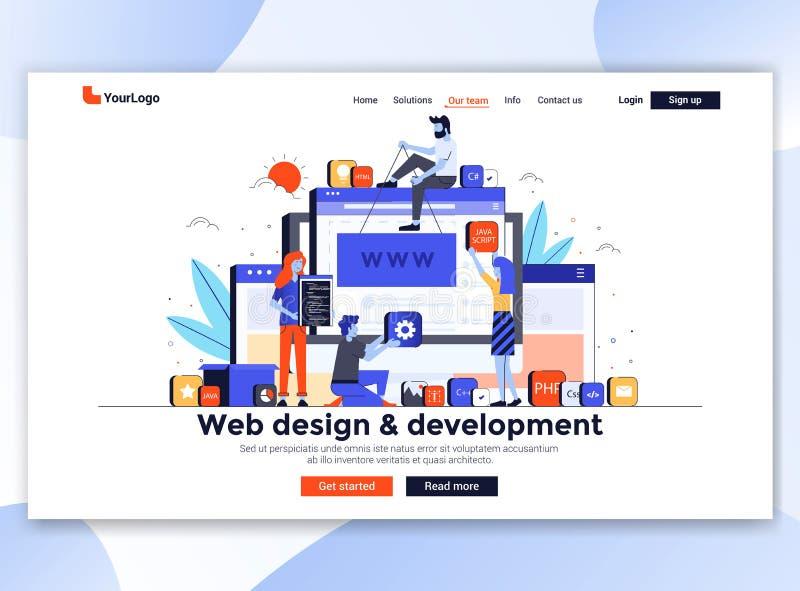 Plan modern design av websitemallen - rengöringsdukdesign och utveckling stock illustrationer