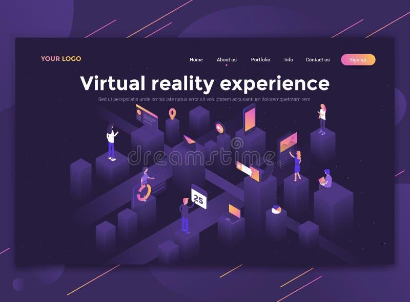 Plan modern design av websitemallen - virtuell verklighetexperie stock illustrationer