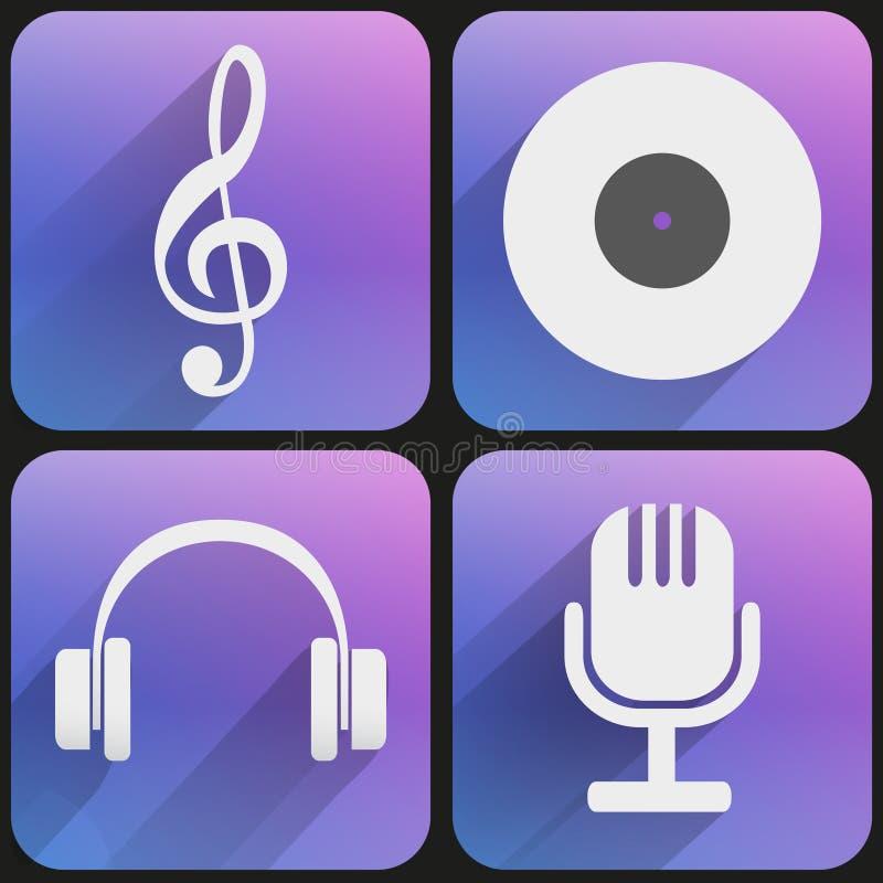 Plan musik för symbolsuppsättningljud för rengöringsduk och applikation. royaltyfri illustrationer