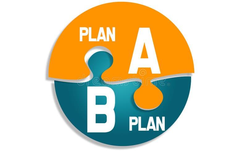 Plan A och plan B på runt pussel vektor illustrationer