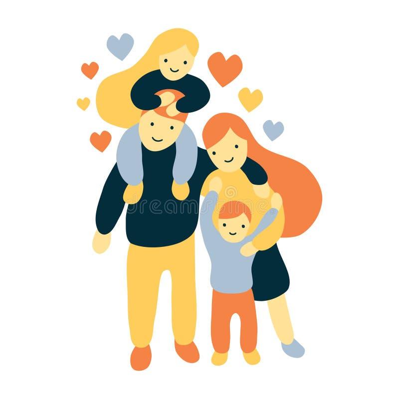 Plan och djärv stilillustration för vektor av fyra glade medlemmar och lycklig familj vektor illustrationer