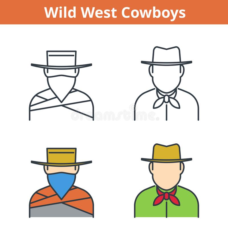 Plan och linjär vektoravataruppsättning: cowboy och rånare stock illustrationer