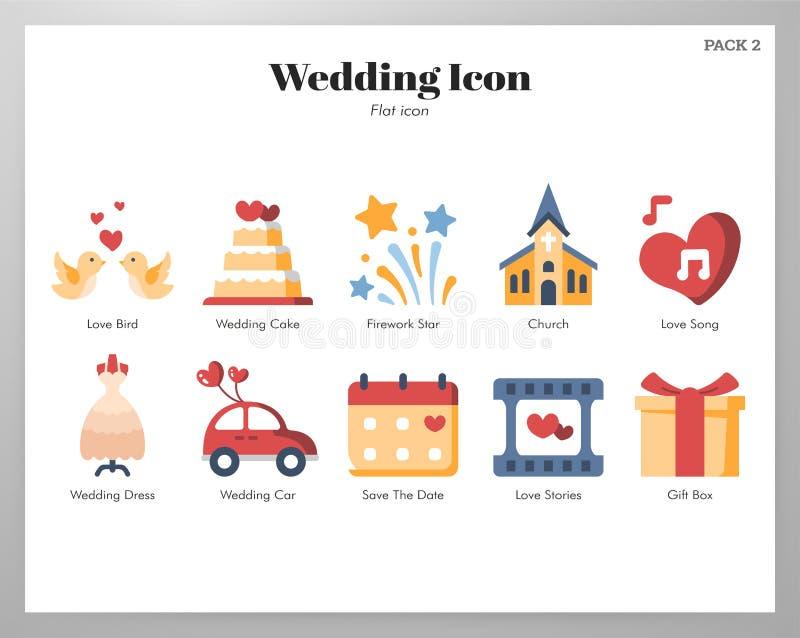Plan packe för bröllopsymboler stock illustrationer