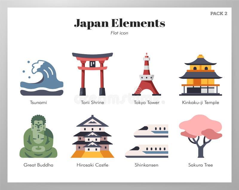 Plan packe för Japan beståndsdelar stock illustrationer