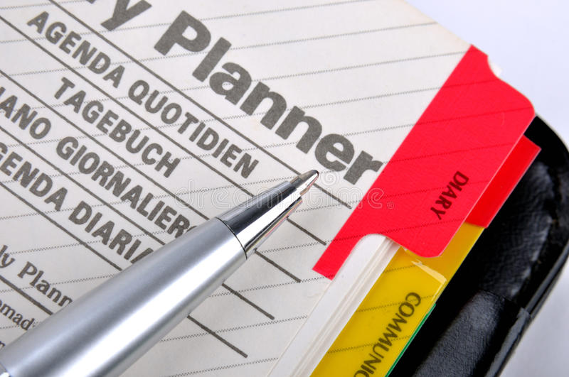 Plan Page Of Notepad And Sliver Gray Pen Stock Photos