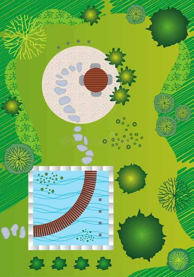 Plan/paisaje y diseño del jardín libre illustration