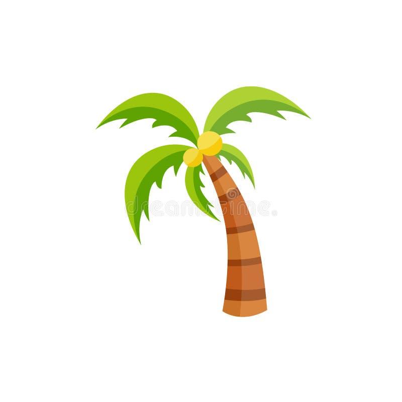Plan palmträd för vektor med den isolerade kokosnötsymbolen stock illustrationer