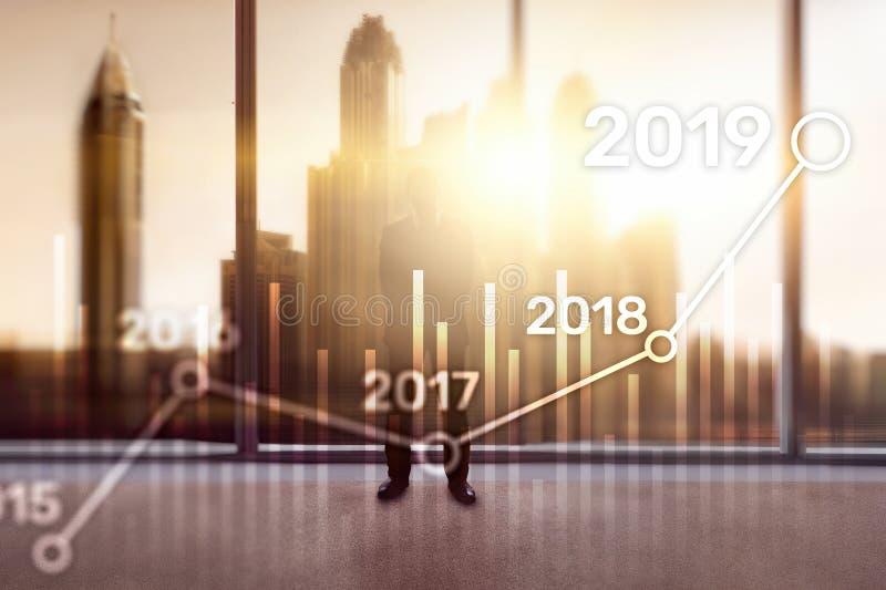 Plan 2019 para el crecimiento financiero Concepto del negocio y de la inversión ilustración del vector