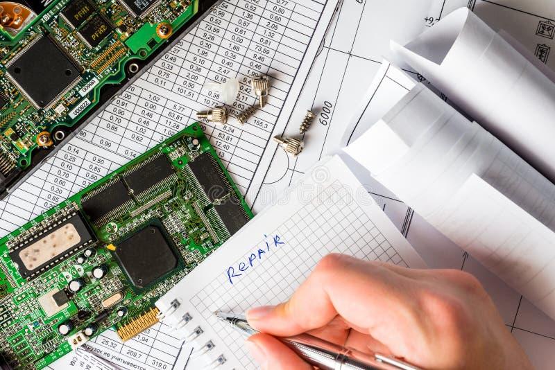 Plan para la reparación del ordenador foto de archivo libre de regalías