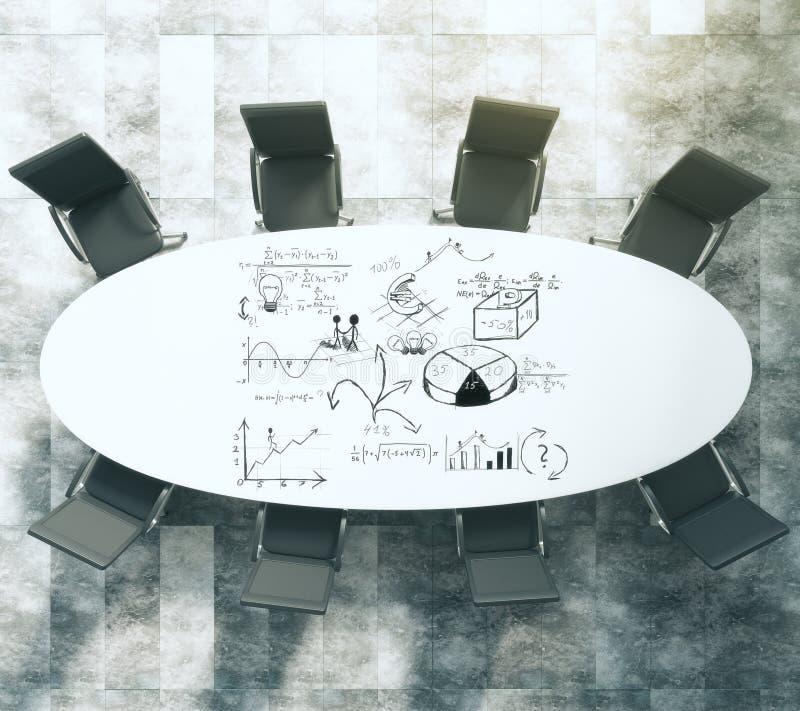 Plan peint d'affaires sur la table de conférence blanche ovale avec le blac illustration stock
