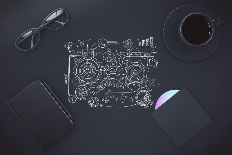 Plan peint sur la table noire avec la tasse du café, du journal intime et du d CD illustration stock