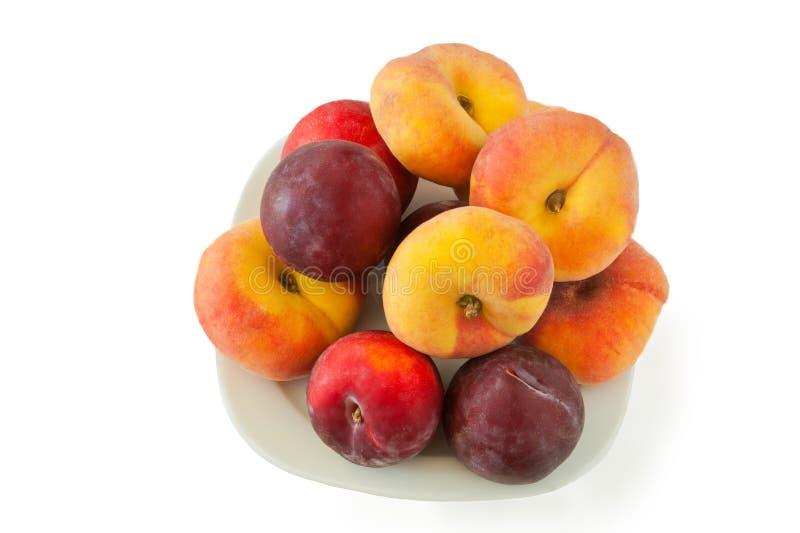 Plan persikor och plommonrenklo royaltyfria foton