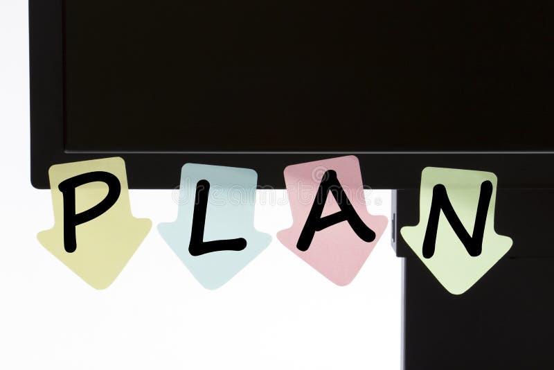 Plan pisać na kolorów majcherów pojęciu obrazy stock