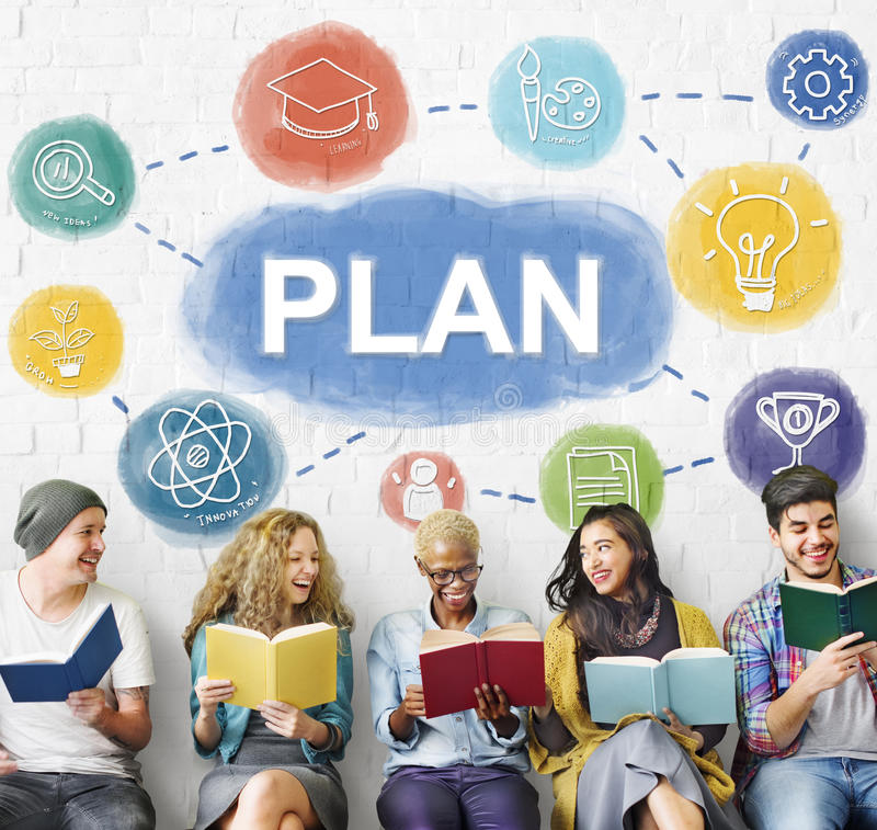 Plan Plannings Bedrijfsmensen Grafisch Concept stock afbeeldingen