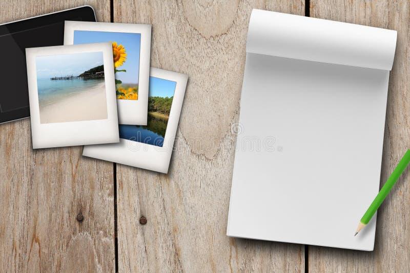 Plan podróży, nutowa puste miejsce książka fotografia stock