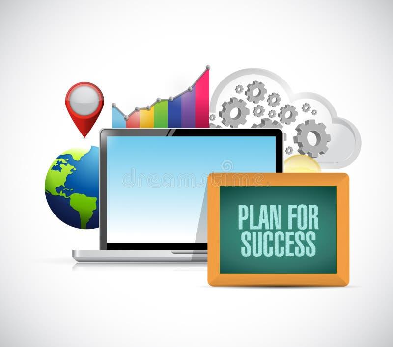 Plan pour le signe en ligne de concept d'affaires de succès illustration libre de droits