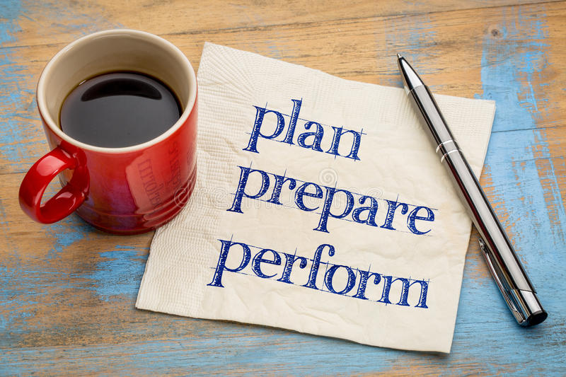 Plan, prepare, perform on napkin. Plan, prepare, perform - handwriting on a napkin with a cup of espresso coffee stock image