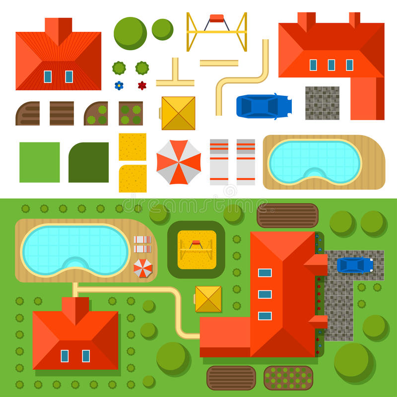 Plan of private house with garden, pool and car vector illustration. Top view of outdoor house. Landscape. Villa house top map. Constructor design elements stock illustration
