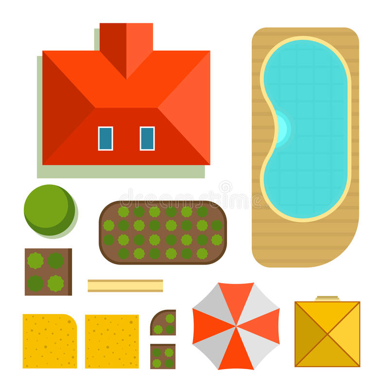 Plan of private house vector illustration. Top view of outdoor home landscape collection. Villa map constructor design building elements vector game sign royalty free illustration
