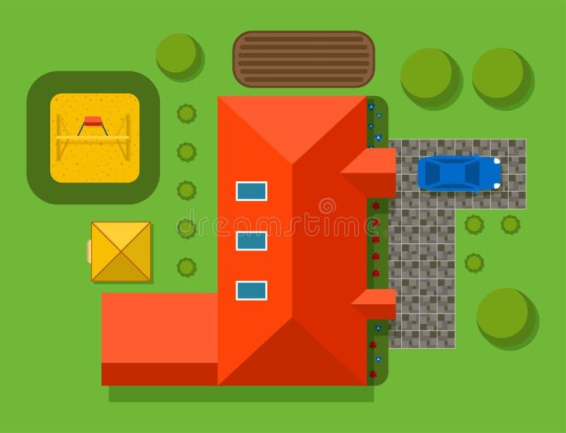 Plan of private house vector illustration top view of outdoor home. Plan of private house vector illustration. Top view of outdoor home landscape villa map vector illustration