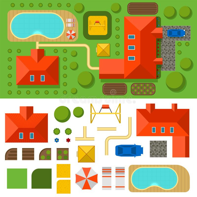 Plan of private house vector illustration top view of outdoor home landscape. Plan of private house vector illustration. Top view of outdoor home landscape villa stock illustration